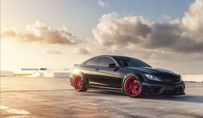 Mercedes-Benz C63 AMG Black by Mode Carbon on red ADV.1 Wheels