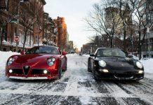 Alfa Romeo 8C and Porsche 911 in the Snow