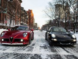 Alfa Romeo 8C and Porsche 911 in the Snow