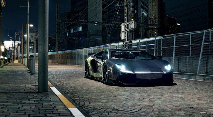Gallery: Chrome Lamborghini Aventador by Liberty Walk at Night