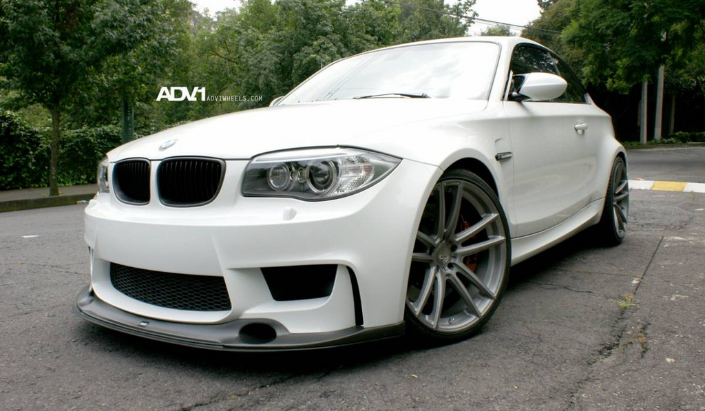 White BMW 1M Riding on ADV.1 Wheels
