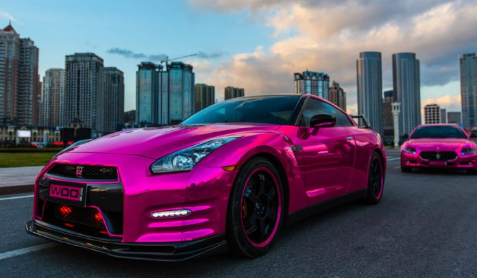 Gallery: Pink Wrapped Nissan GT-R and Maserati Quattroporte