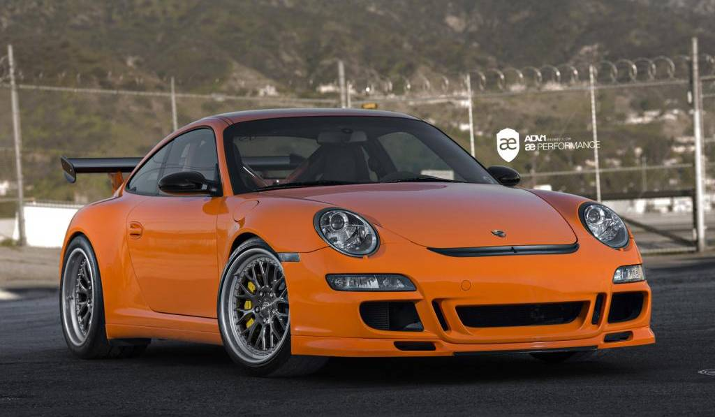 Orange Porsche 911 GT3 RS on ADV.1 Wheels by AE Performance