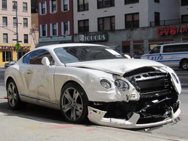Car Crash: Destroyed 2013 Bentley Continental GT in New York City