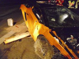 Lamborghini Gallardo LP570-4 Superleggera Wrecked in Mercedes-Benz SLS AMG Autobahn Race
