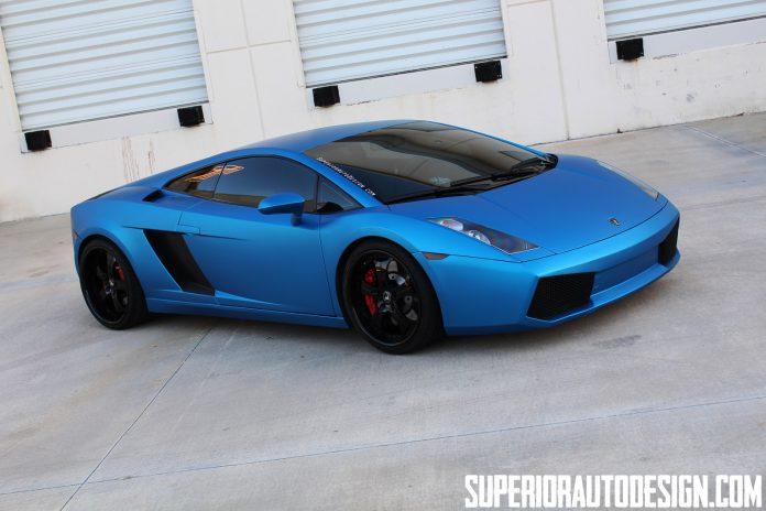 Matte Blue Wrapped Lamborghini Gallardo by Superior Auto Design