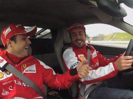Video: F1 Racers Fernando Alonso and Felipe Massa Racing the Ferrari 458 Italia
