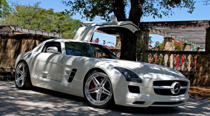 White Mercedes-Benz SLS AMG on ADV05 Track Spec Wheels