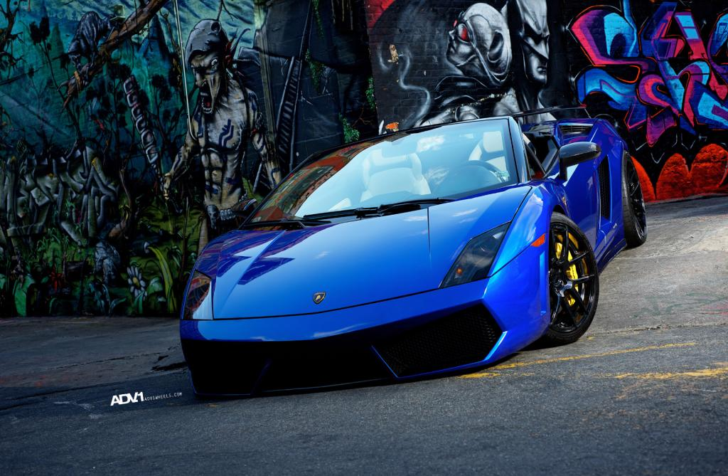 Blue Lamborghini Gallardo LP560-4 Spyder With Black ADV.1 Wheels