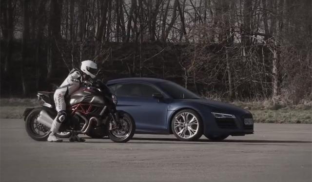 Video: Audi R8 V10 Plus vs Ducati Diavel in 0-150mph-0 Test