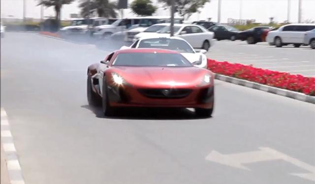 Video: Rimac One Concept Smoking Ferrari 458 Spider