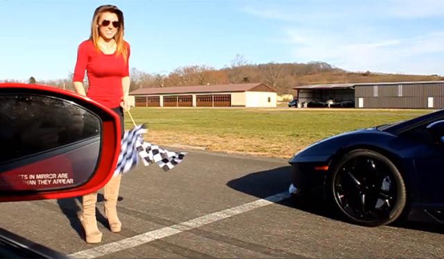 Video: Blue Lamborghini Aventador Racing Modified Nissan GT-R