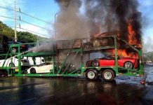 Supercars on fire in Thailand
