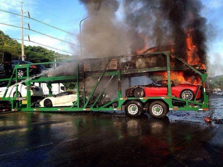 Trailer Full Of Supercars Catches Fire In Thailand Gtspirit