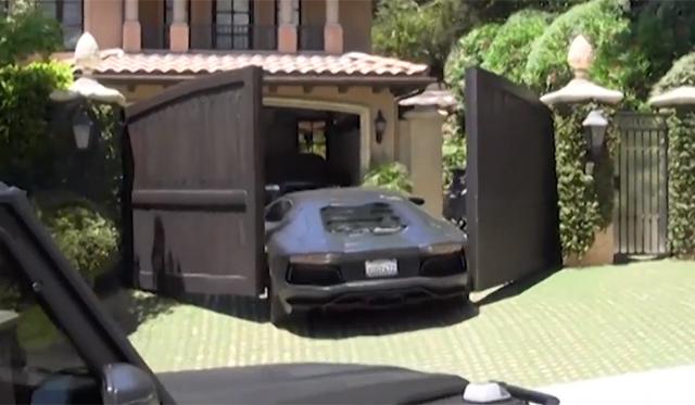 Video: Kanye West's Lamborghini Aventador Hits Closing Gate