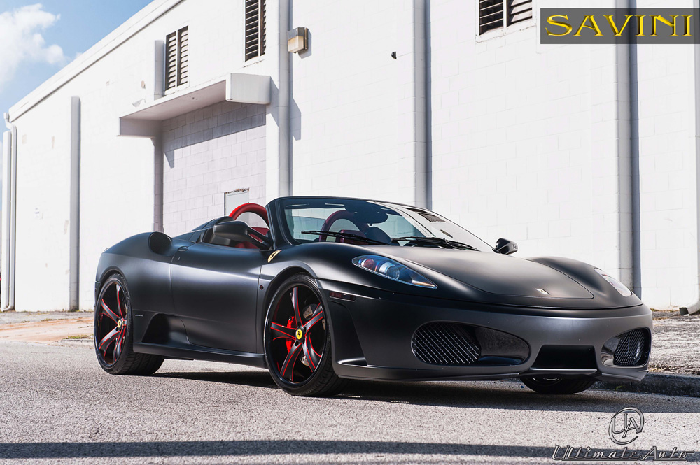 Matte Black Ferrari F430 on Savini Wheels by Ultimate Auto