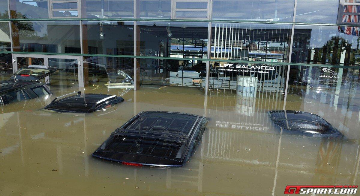 Floods In Bayern Destroy Jaguar Landrover Dealership In