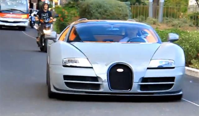 video grey bugatti veyron grand sport vitesse spotted in monaco gtspirit. Black Bedroom Furniture Sets. Home Design Ideas