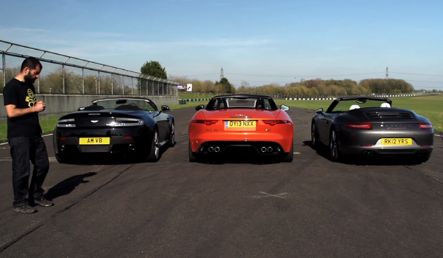 Video: Chris Harris Tests Jaguar F-Type V8 S, Porsche 911 S Cabriolet, Aston Martin V8 Roadster