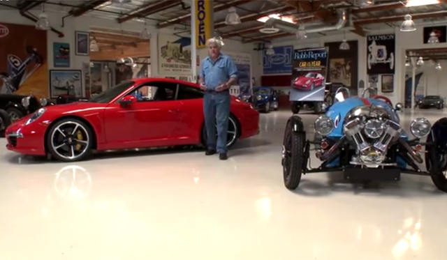 Video: Jay Leno Drives 2013 Porsche 911 Carrera S and Morgan 3 Wheeler