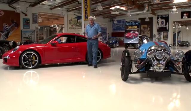 Video: Jay Leno Drives 2013 Porsche 911 Carrera S and Morgan 3 Wheeler