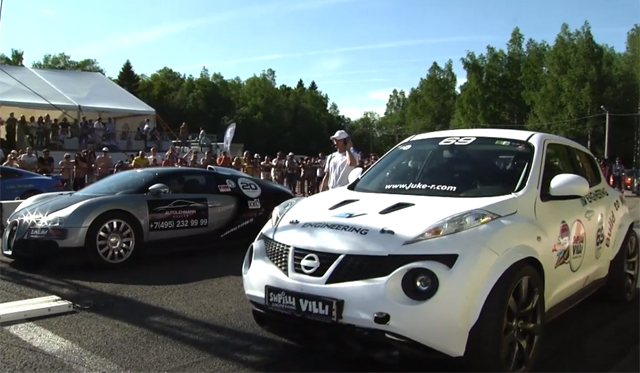 Video: Bugatti Veyron vs 700hp Nissan Juke by Shpilli Villi