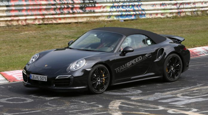Spyshots: Camo-Less 2014 Porsche 911 Turbo Cabriolet at the 'Ring