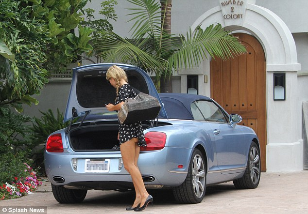 Paris Hilton Spotted With her Blue Bentley Continental GTC