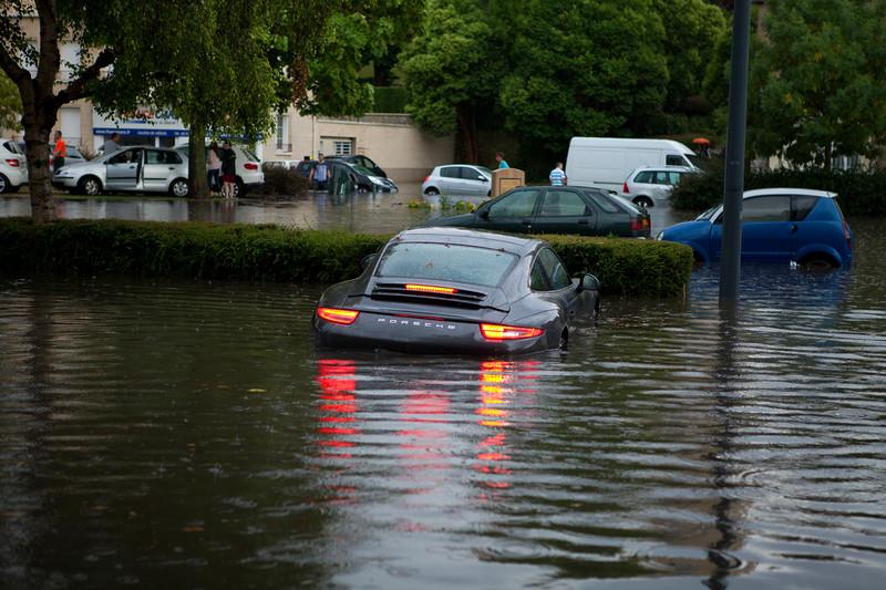 Car Crash Porsche 911 Trapped In Flood In France