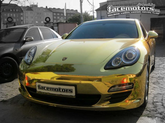 Overkill: Chrome Gold Porsche Panamera by Facemotors