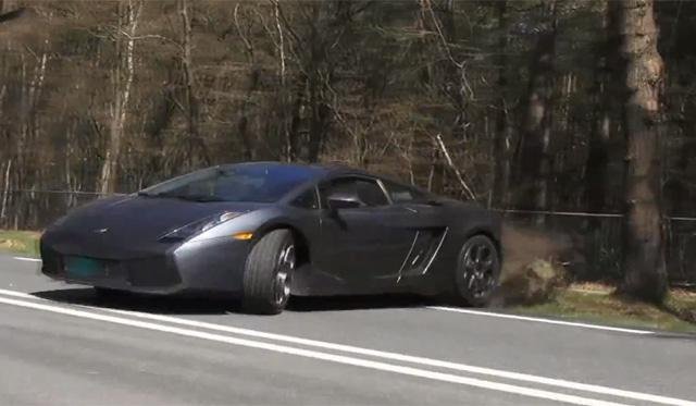 Video: Lamborghini Gallardo Spins and Almost Hits Tree