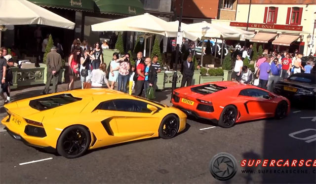 Video: The Chaos Created by two Revving Lamborghini Aventadors