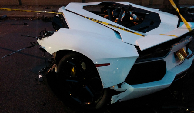 Lamborghini Aventador Breaks in Half in Brooklyn, NYC
