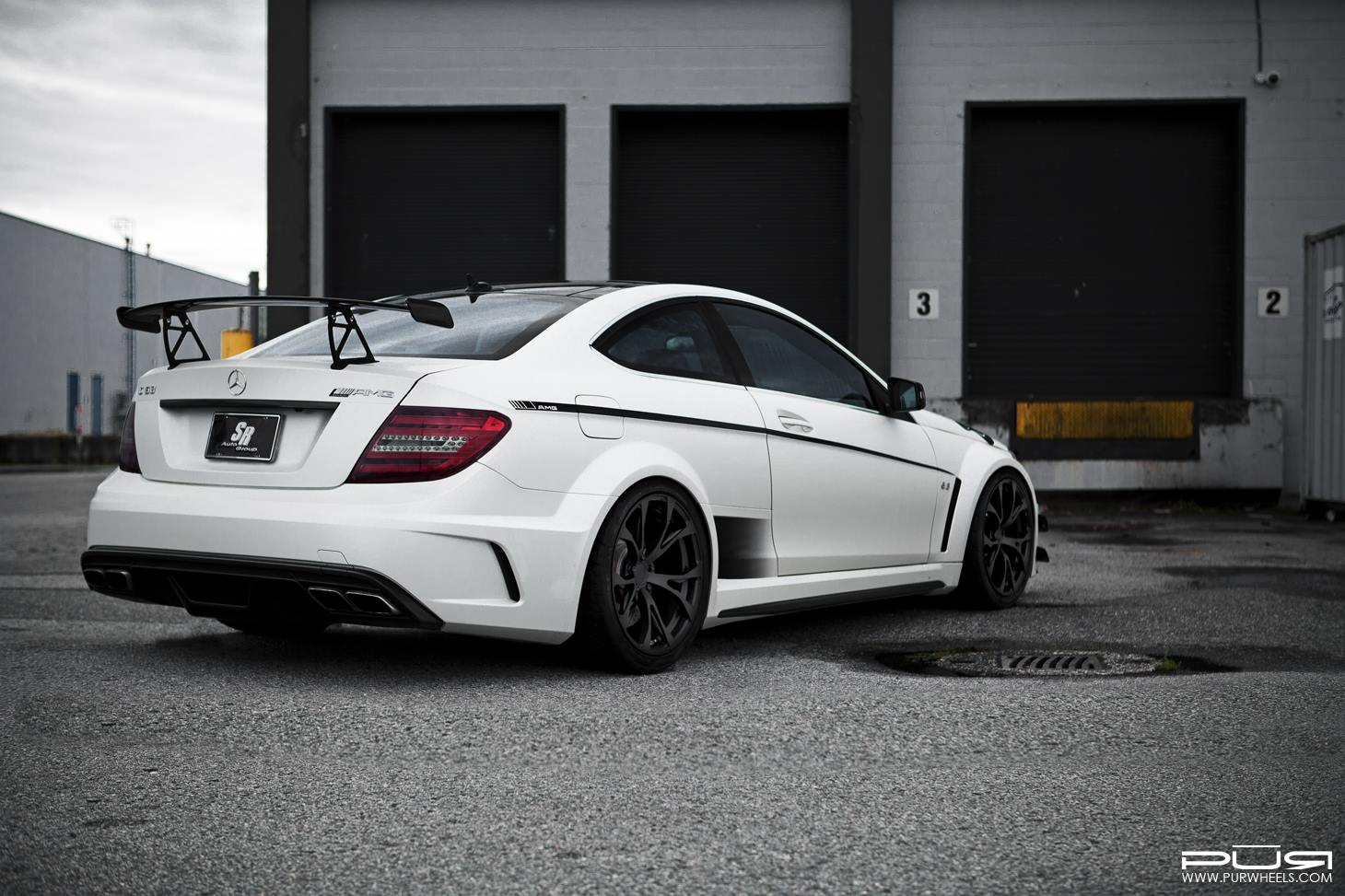 barbaric mercedes benz c63 amg black series lowered on pur wheels gtspirit