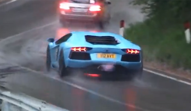 See More Than 100 Lamborghinis on a Wet Hairpin!