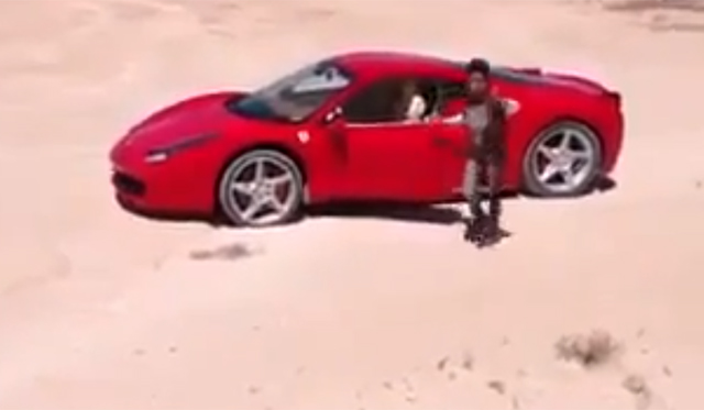 Spoilt Libyan Kid Slides Ferrari 458 Italia in the Sand