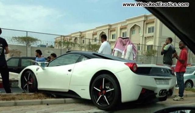 Not Again! White Ferrari 458 Italia Crashed in Saudi Arabia