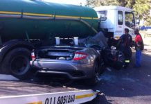 Maserati GranTurismo Squished by Truck