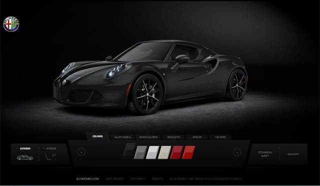 Official Configurator Launched for 2014 Alfa Romeo 4C!