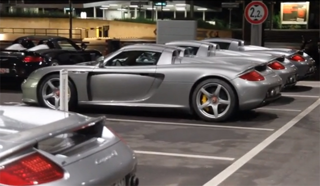 Five Porsche Carrera GTs in One Parking Lot