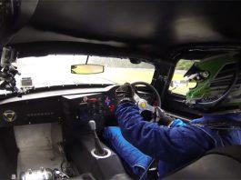 Chris Harris in Jaguar Lister Coupe at Le Mans Legend 2013