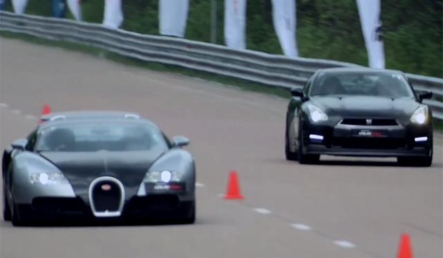 Bugatti Veyron Races 700hp Nissan GT-R in Russia