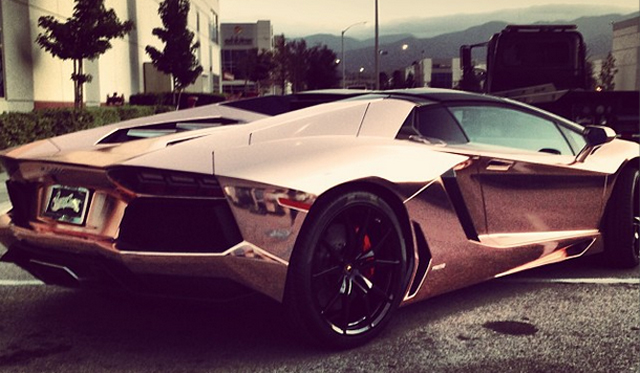 Tyga's Lamborghini Aventador Roadster Receives Rose-Gold Wrap