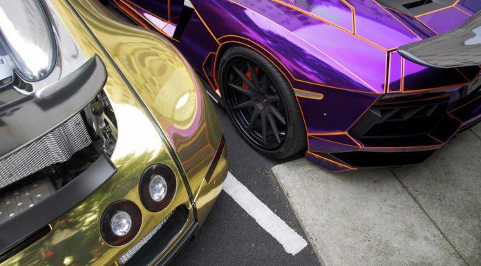 Chrome Supercars - Tron Aventador and Wrapped Veyron
