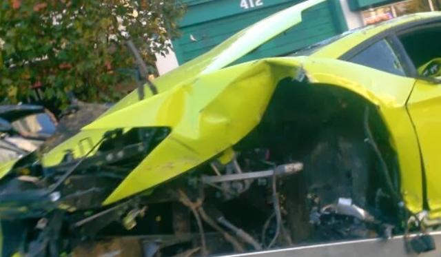Another Bright Green Lamborghini Aventador Crashes in the U.S.