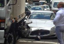 Truck Hits Silver Maserati GranTurismo in Sydney