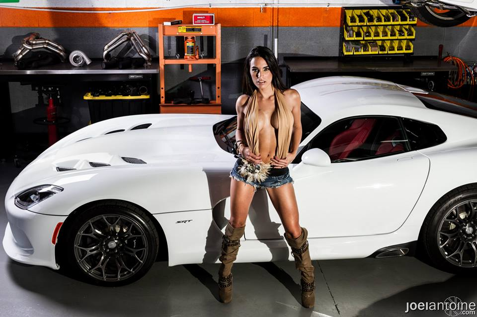 Sexy Model Poses With 2013 SRT Viper and 2014 Corvette Stingray