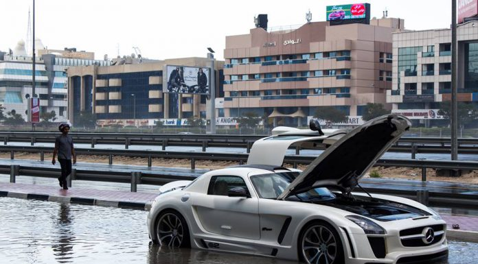 Mercedes-Benz SLS AMG Gullstream by FAB Design Trapped in Dubai Flood Waters