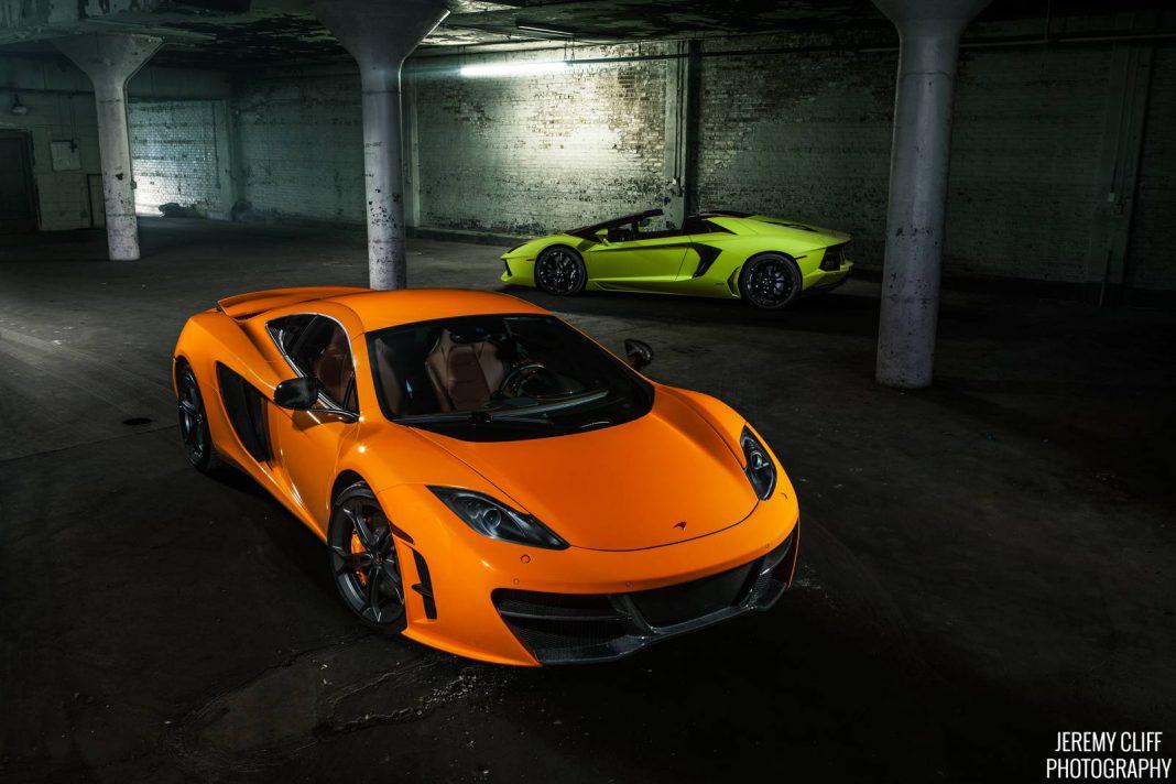 McLaren 12C by RevoZport Meets Verde Scandal Aventador Roadster