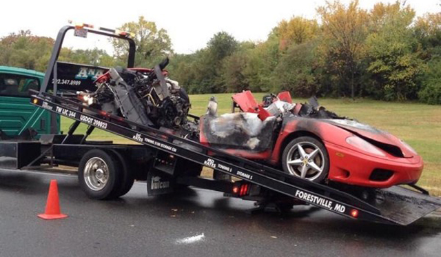 Ferrari Crashes and Catches Fire on George Washington Parkway